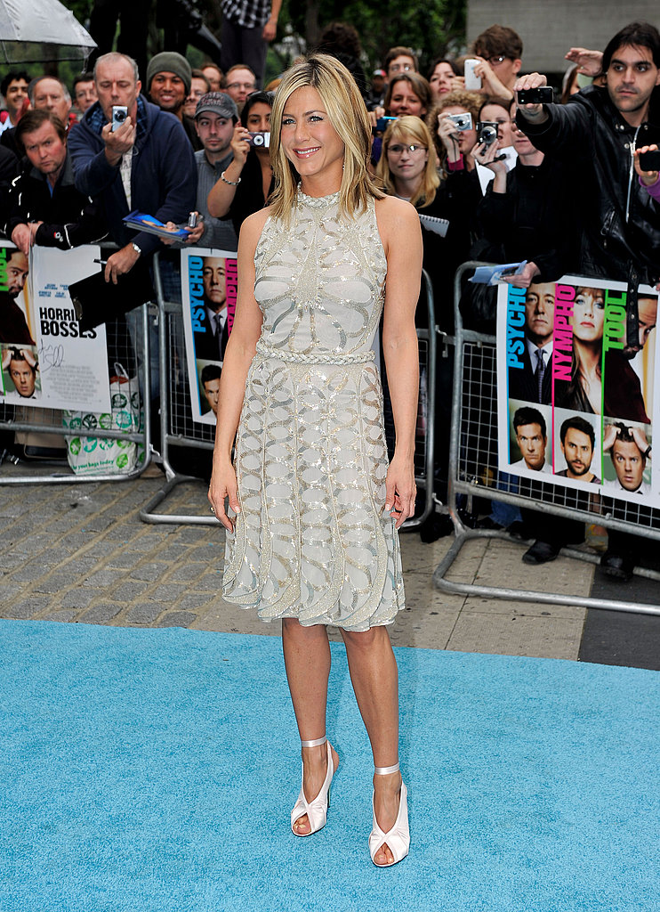 Jennifer Aniston white dress and white shoes at London Horrible Bosses premiere.