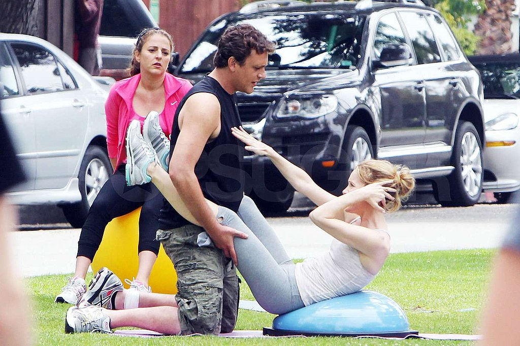 Jason Segel got into character as an overzealous trainer.