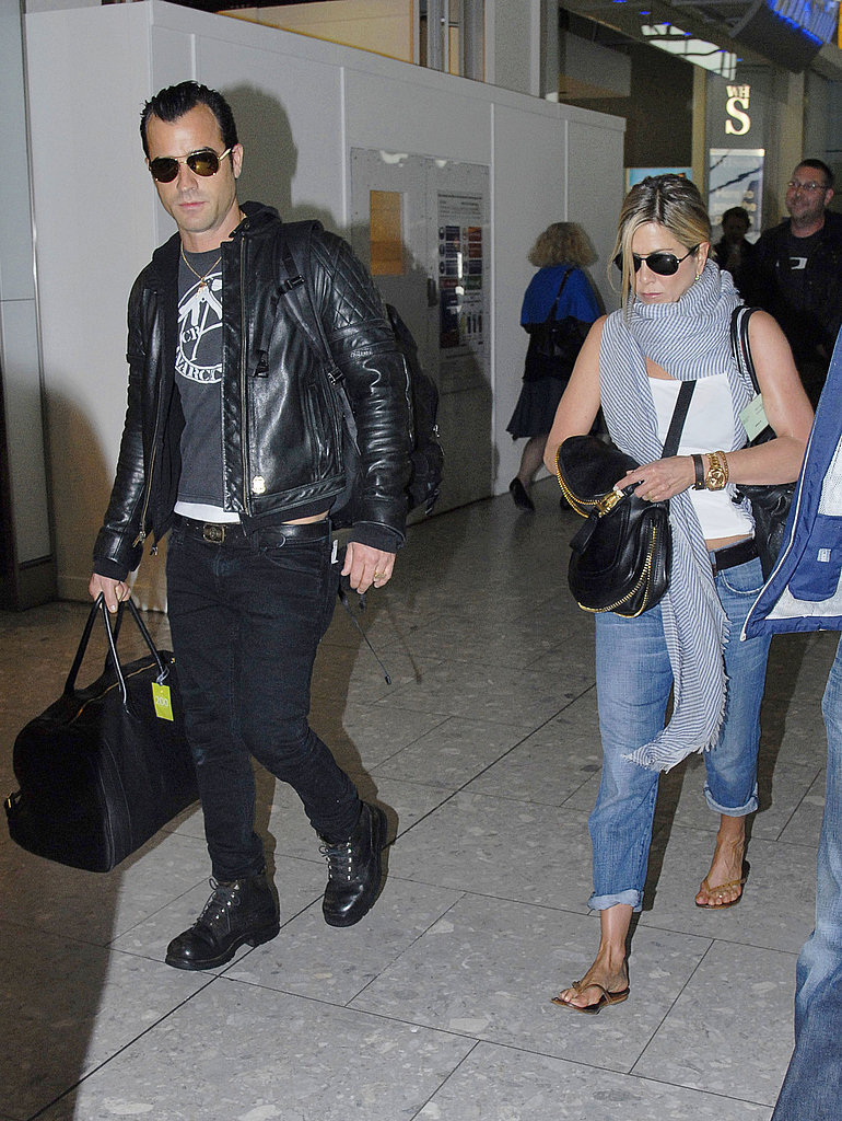 Jennifer Aniston and Justin Theroux Indulge in PDA on Their Way Out of London