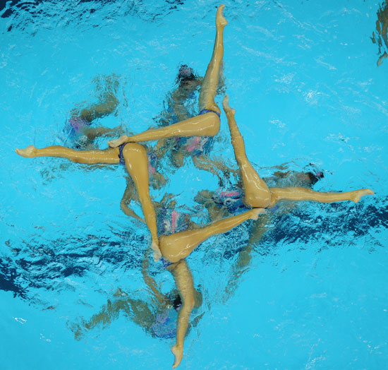 Kazakhstan's synchronized swimmers compete in the FINA World Championships in Shanghai.