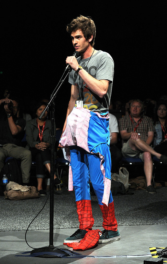 Andrew Garfield disrobed the top of his costume in front of the audience.