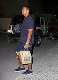 Alex Rodriguez wore a bandage on his right knee.