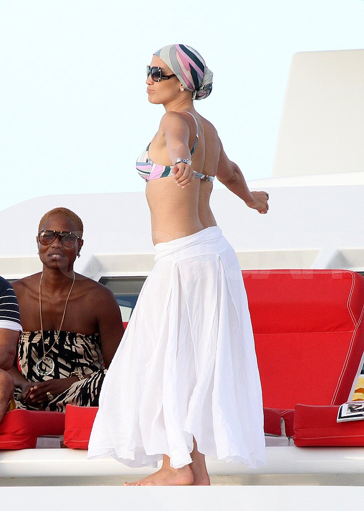 Jennifer Lopez in a bikini on a yacht.