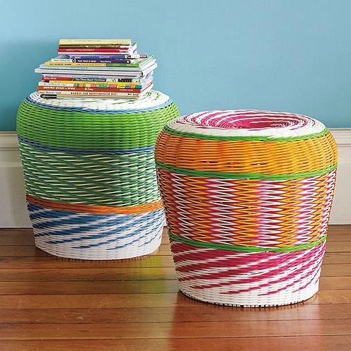 Bring some cheery indoor/outdoor furniture like the Havana Stools ($88) into your home; you won't be afraid to plop down on it in a wet bathing suit.