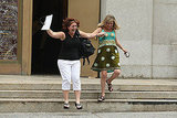 Kimberley Moreno and Wendy Torrington jump for joy.