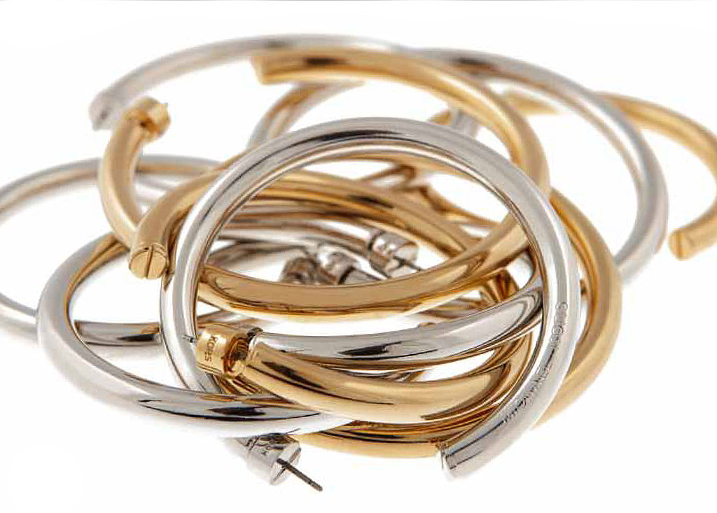 Medium Goldtone or Silvertone Post Hoop, $65; Large Goldtone or Silvertone Post Hoop, $75
