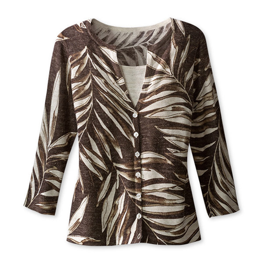 Coldwater Creek Printed Ferns Duet Cardigan, $45