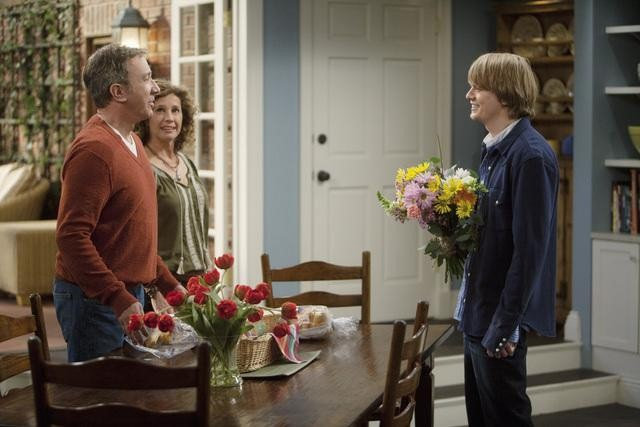 Nancy Travis, Tim Allen, and Christoph Sanders in ABC's Last Man Standing.  Photo copyright 2011 ABC, Inc.