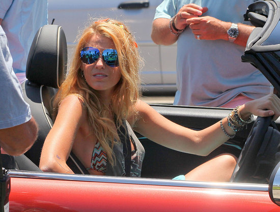 Blake Lively Zips Around Town Wearing a Bikini in Her Red, Hot, Savage Ride