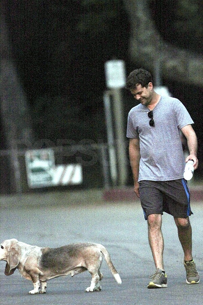 Joshua Jackson with his dog.