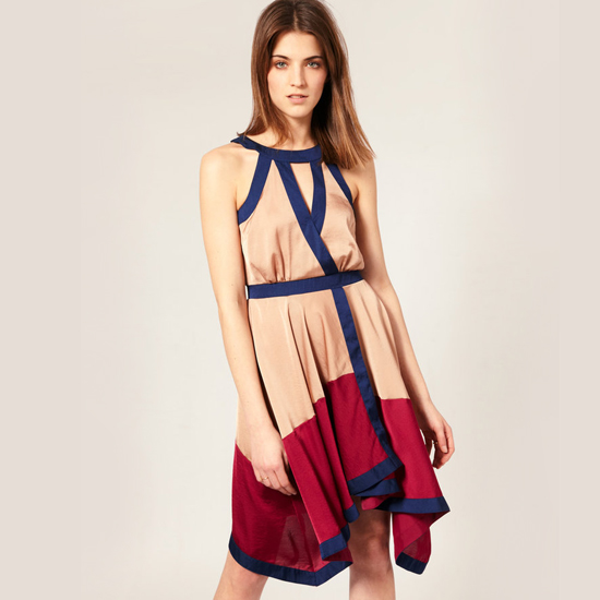 Warehouse Color Block Wrap Dress, $104