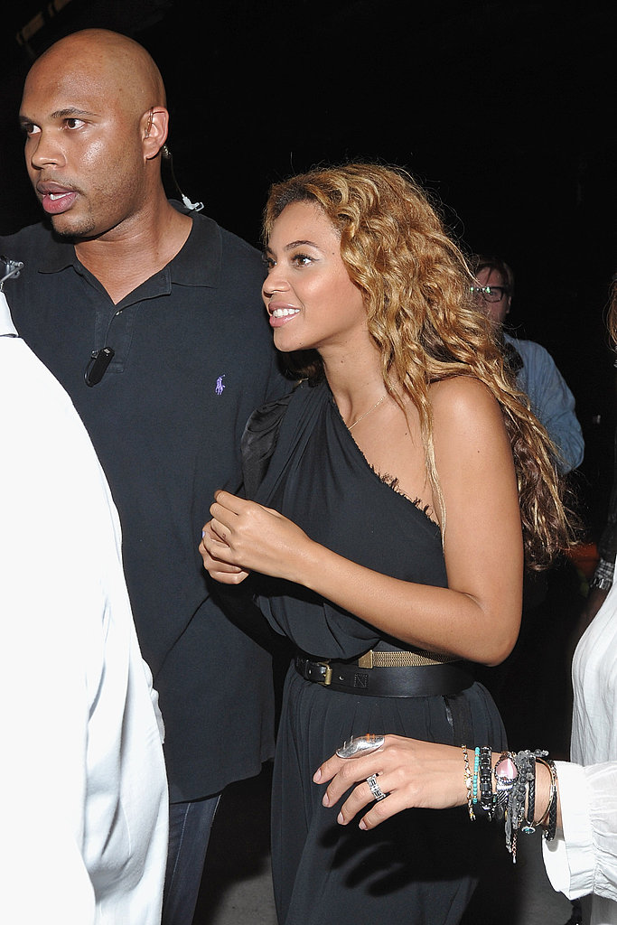 Beyoncé Knowles in a one-shouldered jumpsuit.