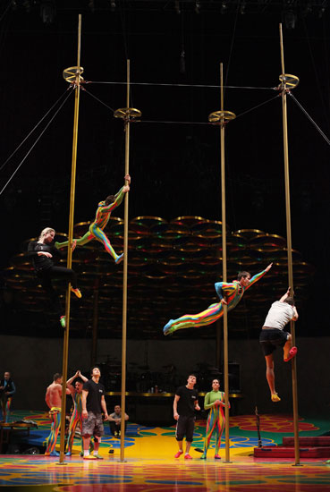 Performers prepare for Cirque du Soleil's Saltimbanco show in Sydney, Australia.