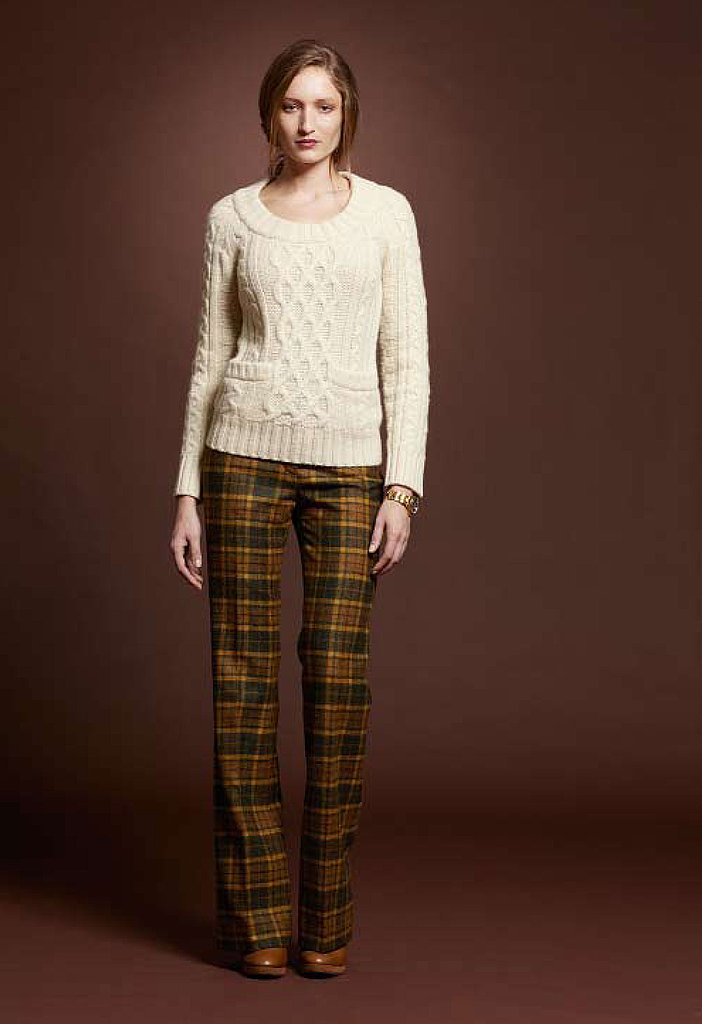 Shetlan Wool Aran Sweater, $119; Wool Trouser, $149; Ducktrap Boot, $179; Vintage Metal Field Watch, $225