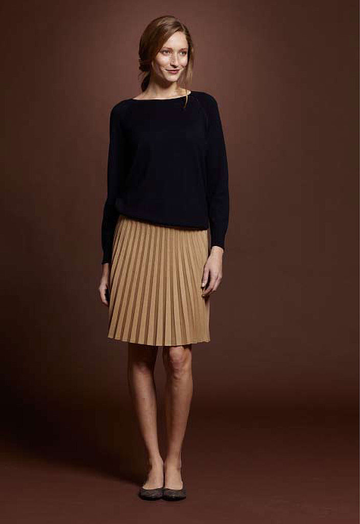 Merino Cotton Sweater, $79; British Flannel Pleated Skirt, $189; Danforth Ballet Flat, $99