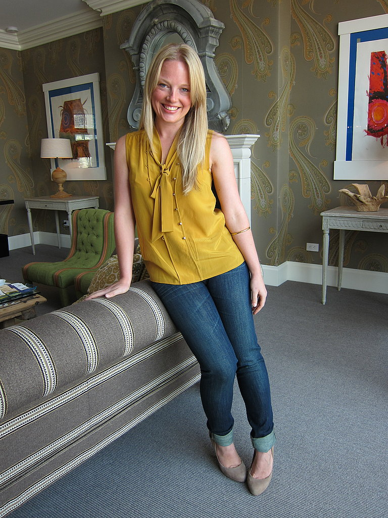 The billowy mustard blouse and streamlined skinnies make this the perfect office appropriate ensemble in a causal work environment.