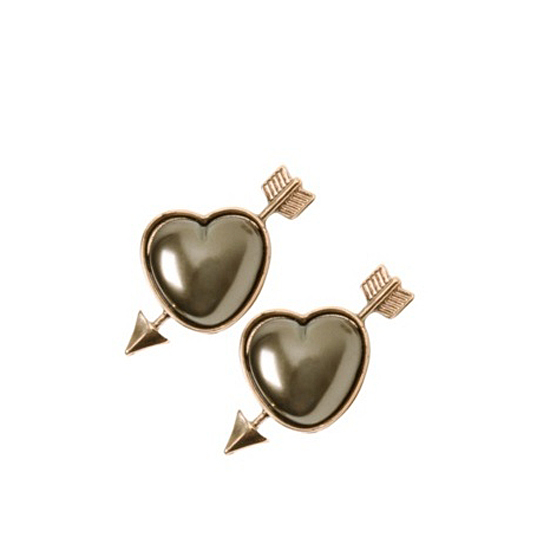 Cupid Gold Arrow and Heart Stud Earrings, $10