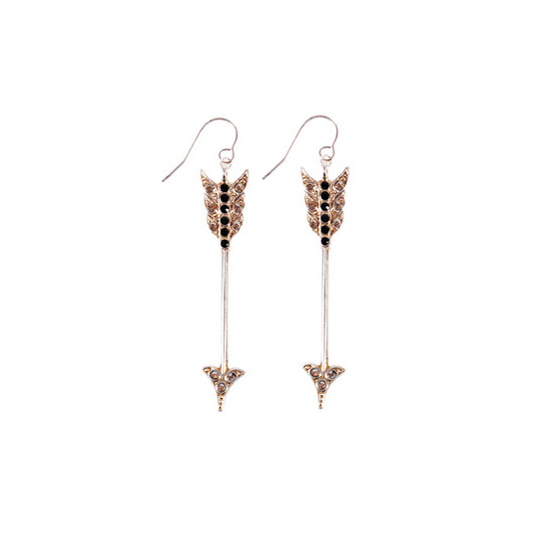Bing Bang Gold Crystal Arrow Earrings, $111