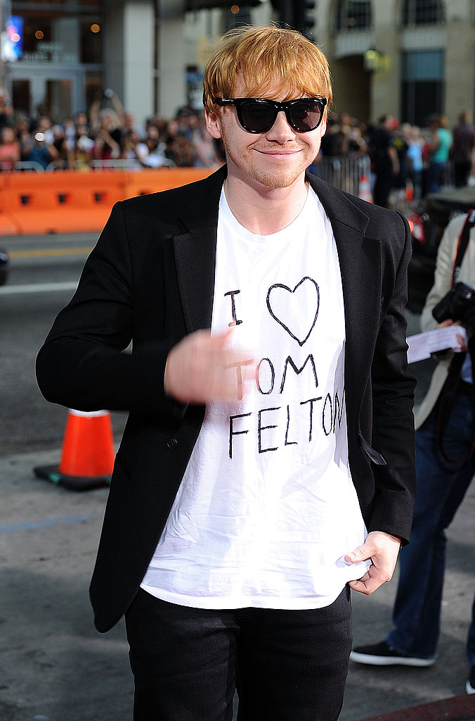 Rupert Grint arrived in a homemade shirt.