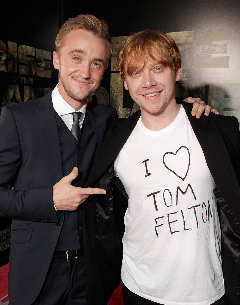 Tom Felton had some support from his friend Rupert Grint.