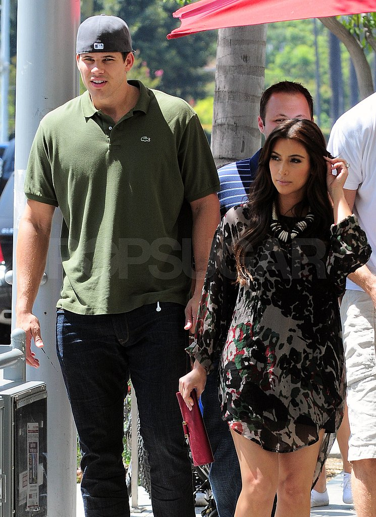 Kim Kardashian and her very tall fiancé dined in Beverly Hills.