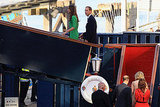 Kate Middleton and Prince William arrive on the Royal Yacht Britannia.