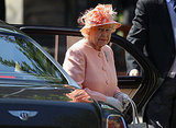 Queen Elizabeth in pink at Zara Phillips's wedding.