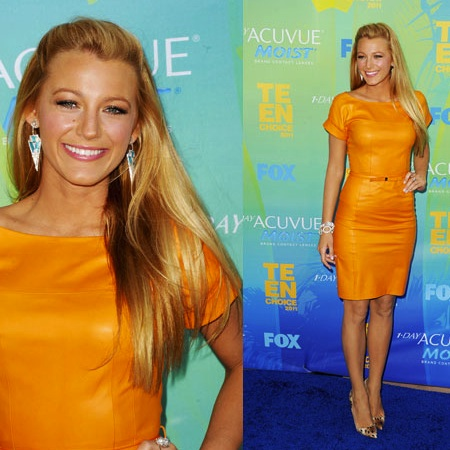 Pictures of Blake Lively in Marigold Yellow Leather Gucci Resort 2012 Dress at 2011 Teen Choice Awards