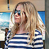 Sienna Miller at Heathrow in a Striped Shirt Pictures