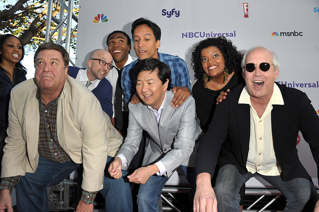 Jim Rash, John Goodman, Donald Glover, Danny Pudi, Ken Jeong, Yvette Nicole Brown, and Chevy Chase from Community.