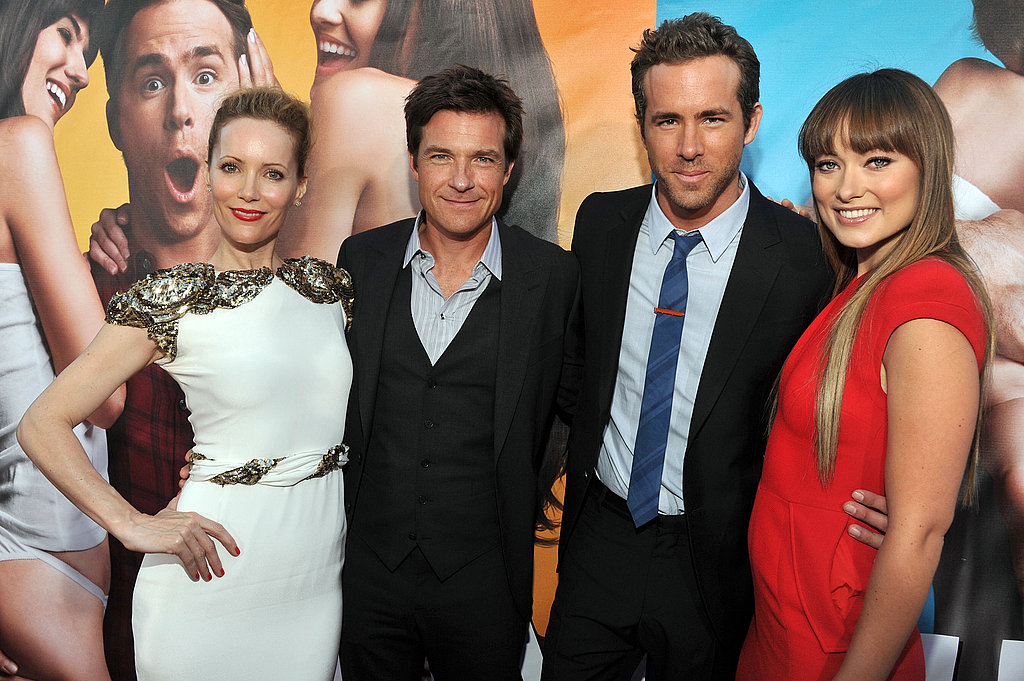 Olivia Wilde, Leslie Mann, Ryan Reynolds, and Jason Bateman at The Change-Up premiere.