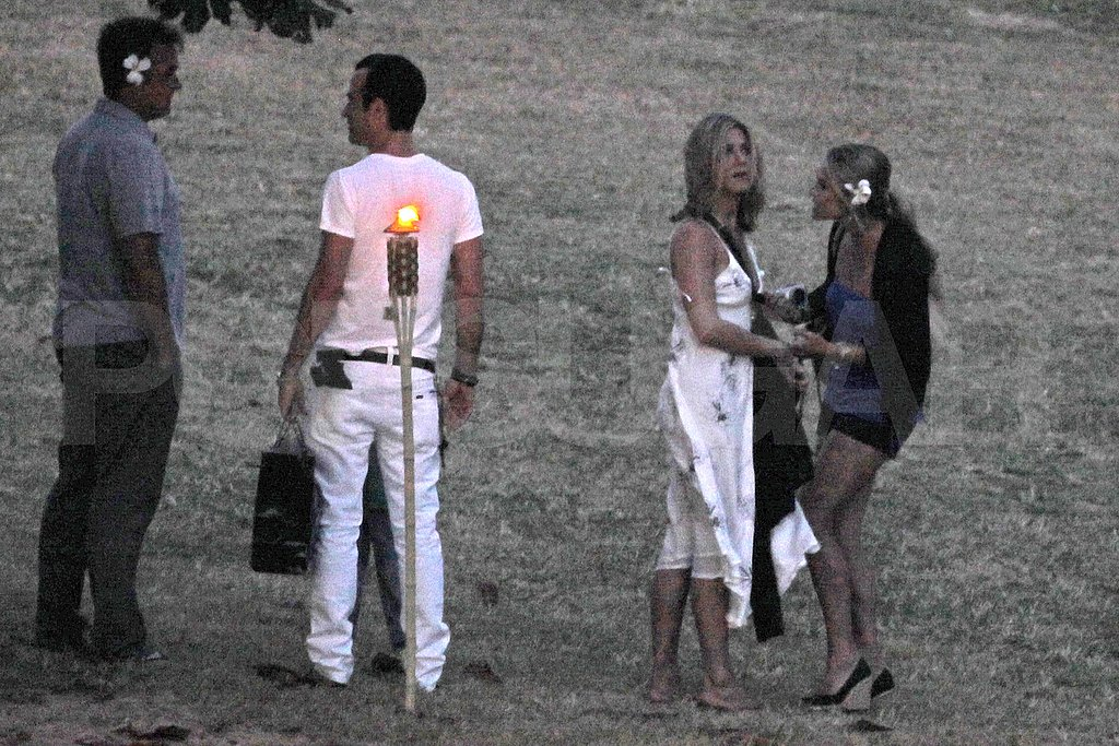 Jennifer Aniston and Justin Theroux at Christine Taylor's birthday party.