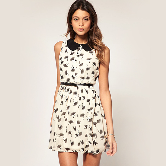 Lipsy Fan Print Contrast Collar & Tie Dress, $87