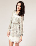We adore the contrast between the sweet lace and funkier snake print. River Island Snake Print Waisted Dress ($78)