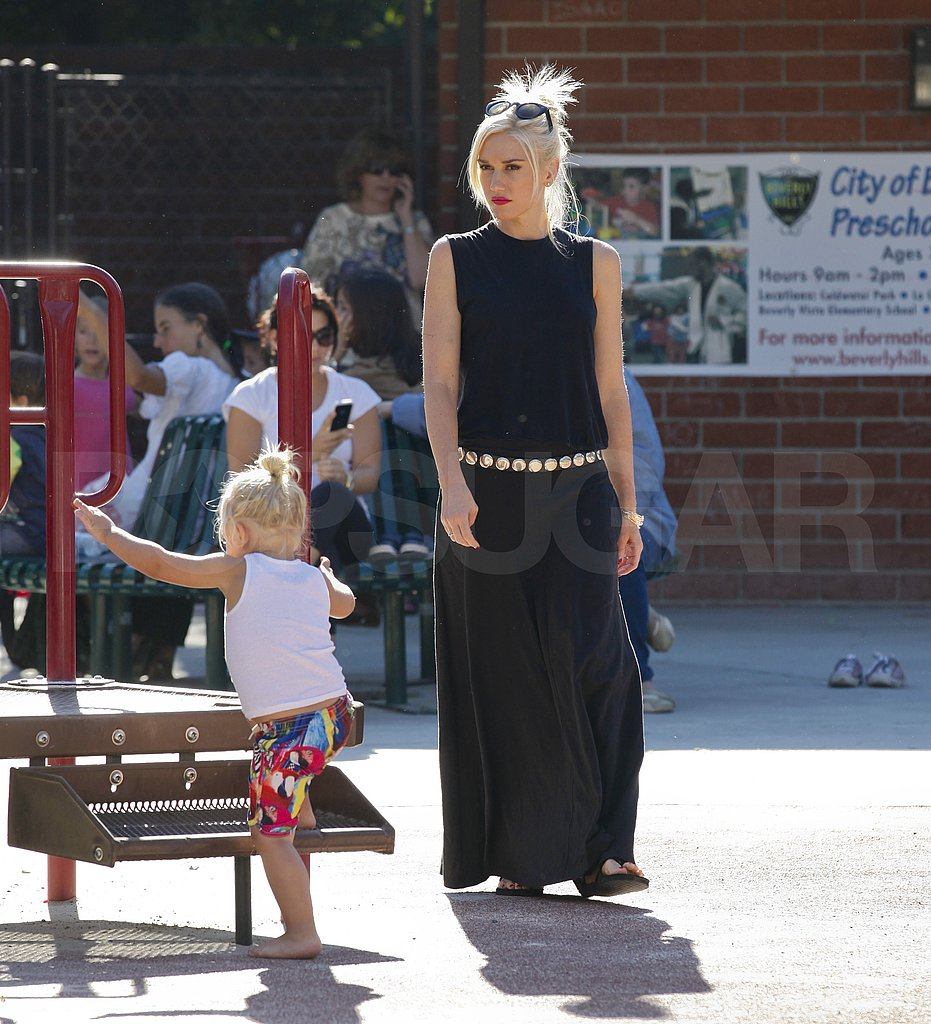 Gwen Stefani helped Zuma get around the playground.