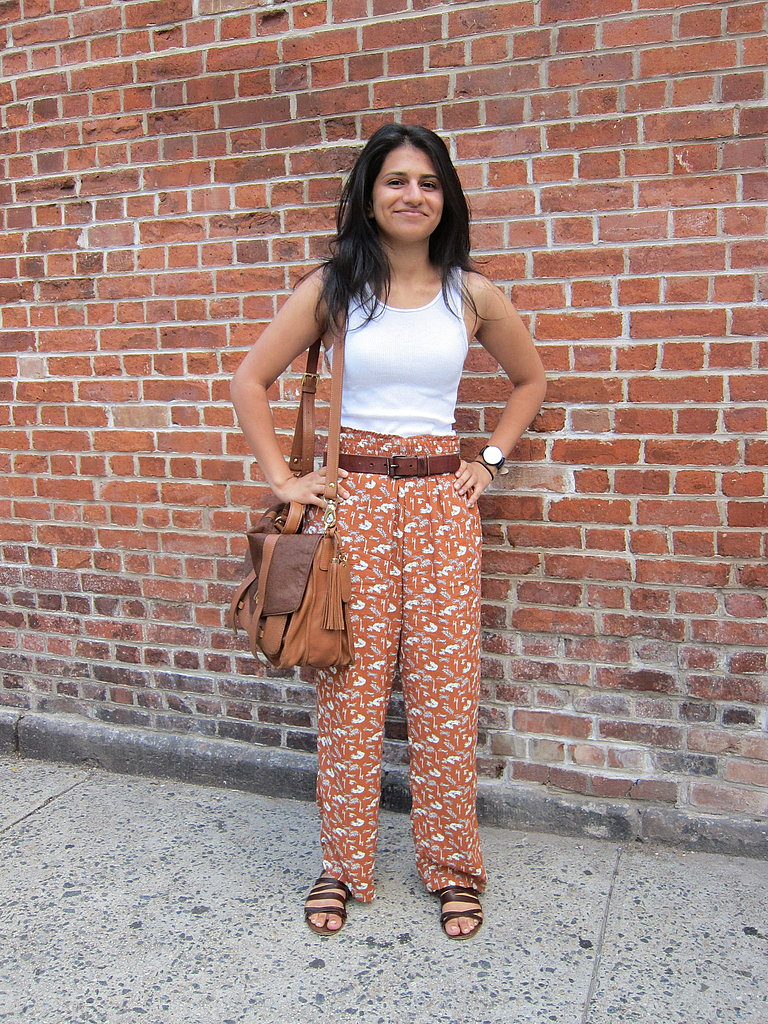 These silk printed pants are a showstopper; just remember to pair them with neutral accompaniments.