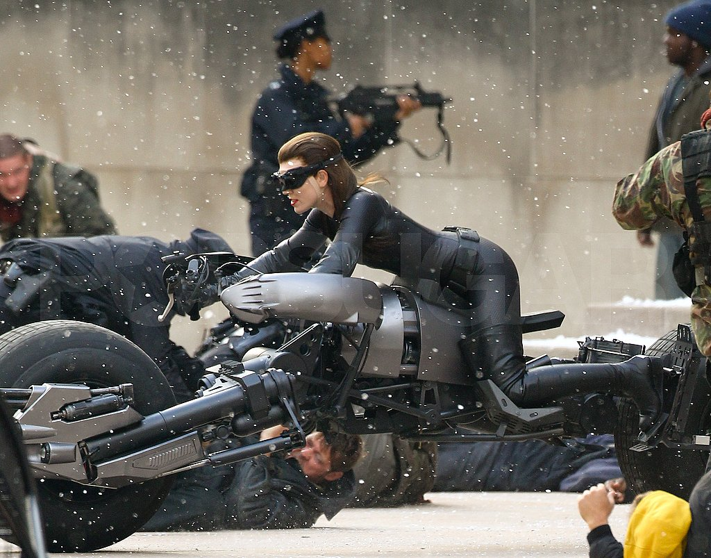 Anne Hathaway hopped on a major motorcycle.
