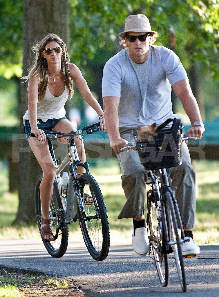 Tom and Gisele rode their bikes around Boston.