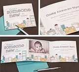 Cityscape Photo Birth Announcement