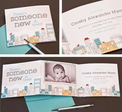Urban Baby: Cityscape Photo Birth Announcement