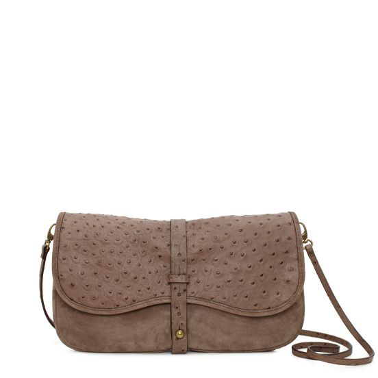 Westward Ingenue Clutch in Taupe, $545