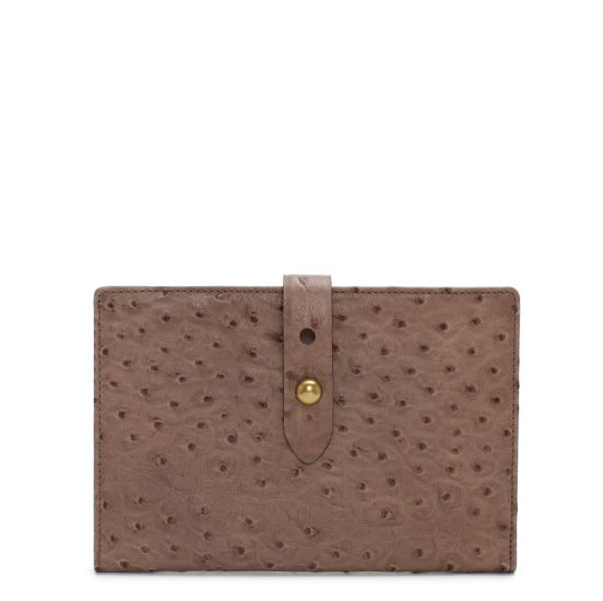 Westward Traveler Wallet in Taupe Ostrich, $245