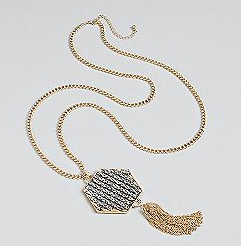 "Kardashian Kollection Kardashian Kollection 30"" Chain Necklace With Hexagon Stone Pendant And Chain Tassel ($16, originally $24)"