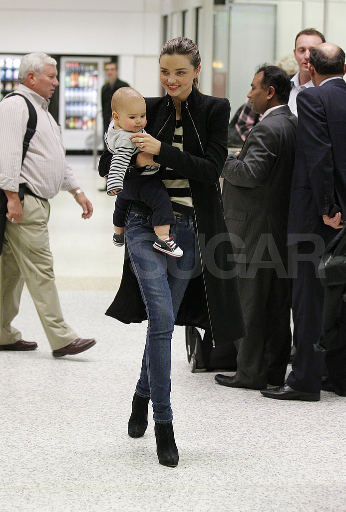 Miranda Kerr and Flynn Bloom arrive in Melbourne.