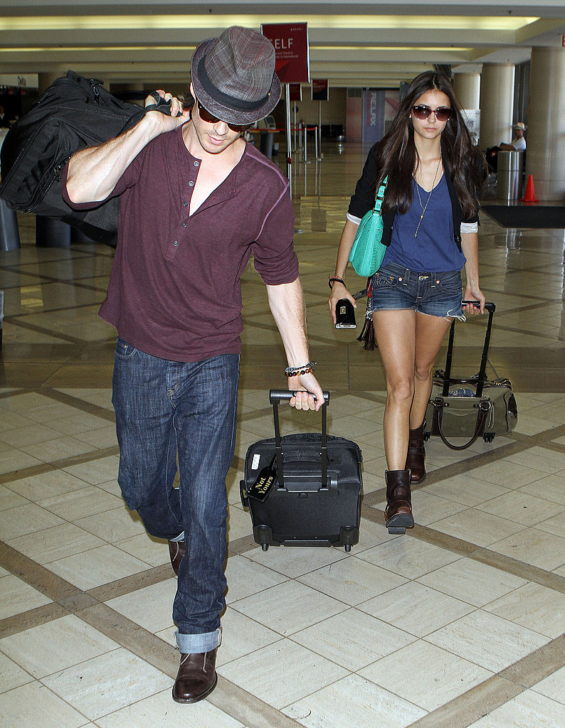 Ian Somerhalder and Nina Dobrev at LAX.