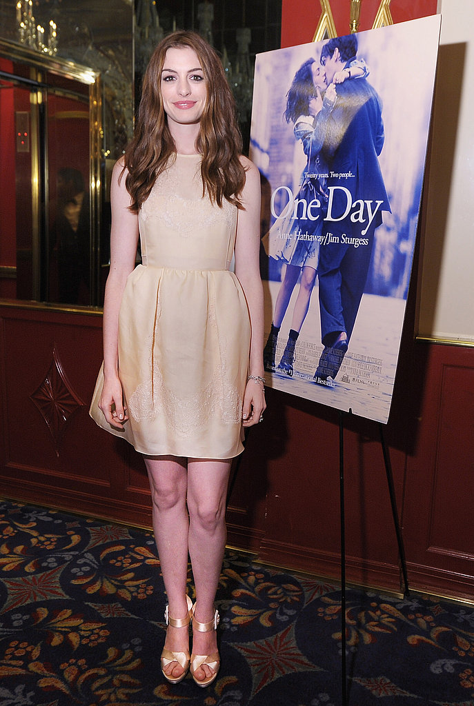 Anne Hathaway wears Carven in NYC.