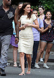 Leighton Meester donned a beige lace dress while walking around set.
