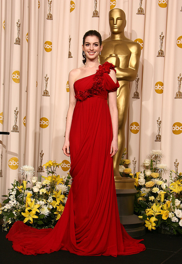 A modern goddess moment in fiery Marchesa in February 2008 at the Academy Awards.