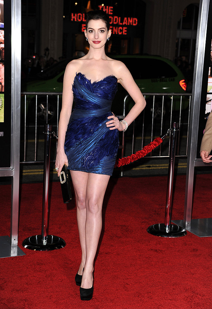 In a feathery Marchesa for the 2010 premiere of Valentine's Day in LA.