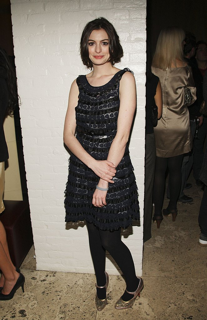 Rocking tights and Mary Janes in January 2008 at the afterparty for Marc Jacobs and Louis Vuitton, Anne shows she's not always a red-carpet glamour girl.